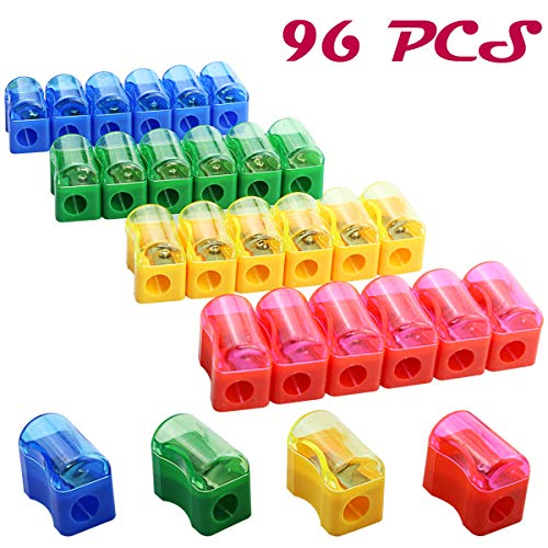 Finico 96 PCS Coloured Plastic Pencil Sharpener,Kids Plastic Manual Pencil Sharpener with Cap Bulk Set,Plastic Manual Pencil Sharpener,Mini Handheld Sharpener with Lid
