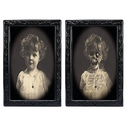 (Aolvo Horror Picture Frame, Lenticular 3D Changing Face Scary Portrait Haunted Spooky Hanging Picture, Decorative Wall Photo Frame Props Ghost Craft for Halloween Theme Party Stage Home Decor)