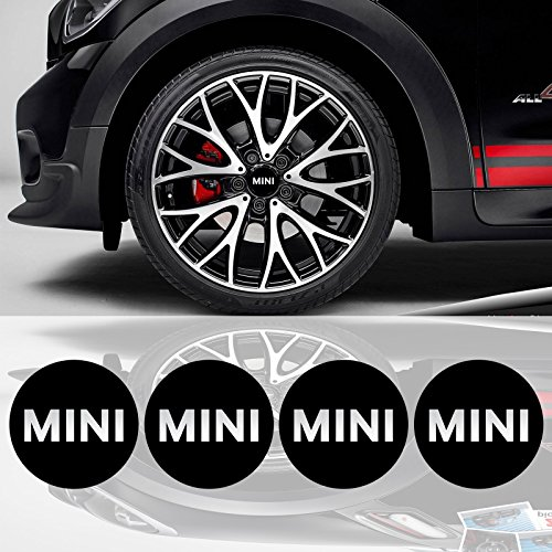 EdwardSmithCars 4 x 55mm Diameter Mini Cooper Wheel Center Cap Sticker Emblem Self Adhesive for Flat Surfaces
