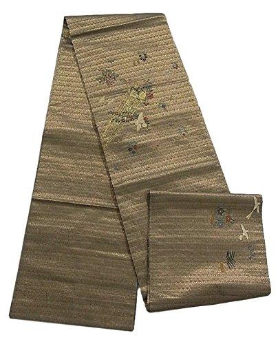 多数のお香愛情リサイクル 袋帯  笙に花鳥文 刺繍 正絹 お太鼓柄