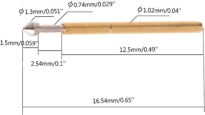 E3 Federprüfsonde Pogo Pin 1,3 1,5 mm konischer Kopf 1,0XUI 100 Stück P75-E2