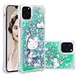 YMHML Glitter Case Compatible with iPhone XI Pro MAX iPhone 11 Pro Max 【6.5 Inch】 Luxury Fashion Bling Flowing Liquid Floating Sparkle Glitter Cover Print Unicorn Cute Cartoon TPU Case (Green Unicorn)