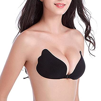 b921045354 Amazon.com  UPSTORE Deep V Sexy Strapless Backless Self Adhesive Wing  Breast Pad Push-up Invisible Silicone Bra (Cup D