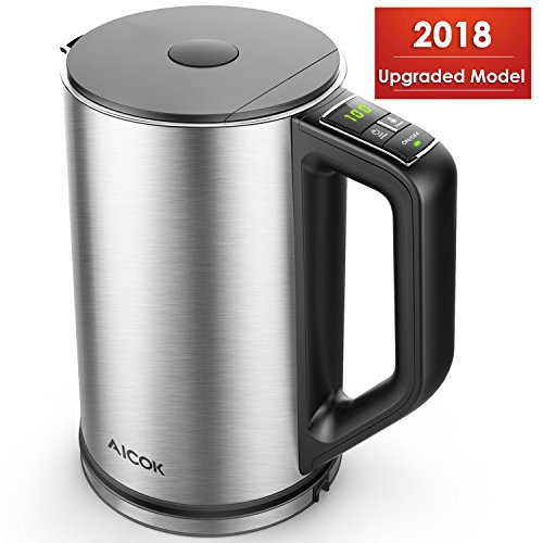 Electric Kettle, Electric Kettle Temperature Control, Water Kettle for Tea, Double Wall Cool Touch Kettle, Stainless Steel Electric Teapots with LED Display, BPA Free &Fast boiling Tea Kettle, Aicok