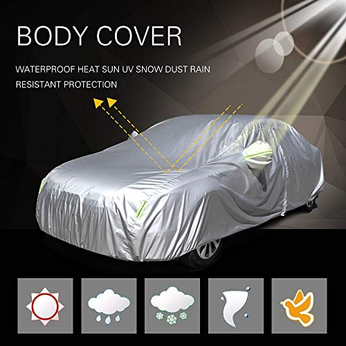 SCITOO Universal Fit Car Cover, Waterproof 190T Silver Grey Polyester Auto Cover Breathable Frost Resistant Cover with Mirror Pockets Reflective Open with Zipper On Passenger Side fit Most Cars 190
