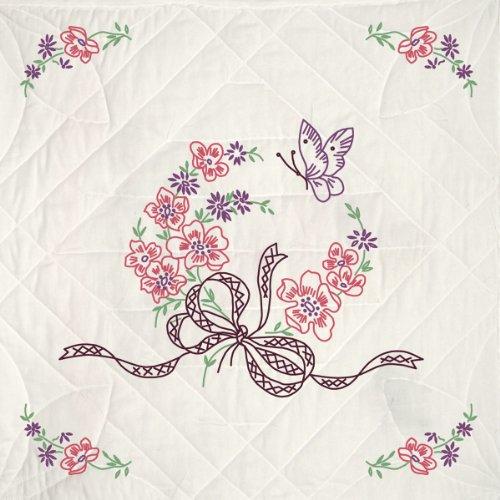 Fairway 98311 Quilt Blocks, Floral and Butterfly Design, White, 6 Blocks Per Set