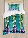 Ambesonne Lavender Duvet Cover Set Twin Size, Fresh Lavender Bouquets on Blue Wooden Planks Rustic Relaxing Spa, Decorative 2 Piece Bedding Set with 1 Pillow Sham, Sky Blue Lavender Green