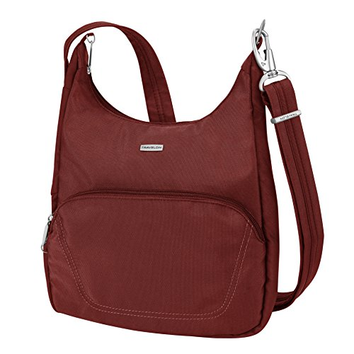 Travelon Anti-Theft Classic Essential Messenger Bag, - Purse Pleated Hobo