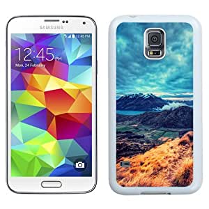 Easy use Cell Phone Case Design with Mountains Landscape Fields And Lake Galaxy S5 Wallpaper in White
