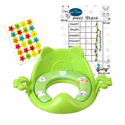 Nima's Green soft potty training seat with handles | easy clean | for elongated toilet | free e-Book & Potty Chart