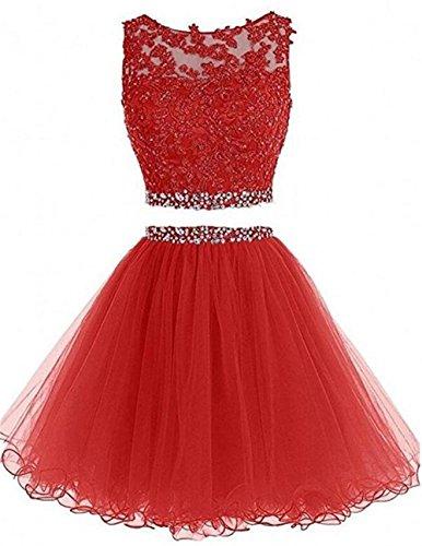 Dydsz Women's Prom Dress Short Homecoming Party Dresses Juniors 2 Piece 2019 A Line D127 Red 2