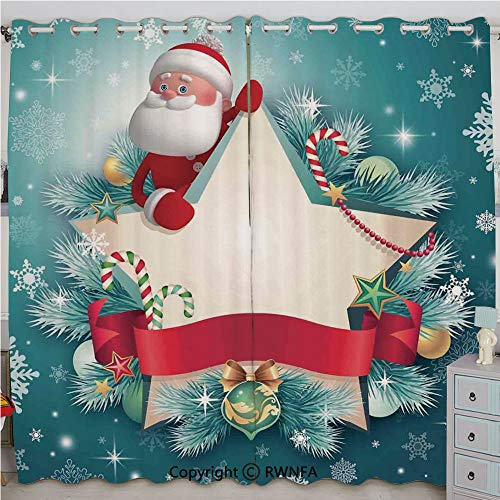(Justin Harve window Santa Star Banner Snowflakes Ribbon and Candy Cane Tree Winter Theme Grommet Top Blackout Curtains Set of 2 Panels(100