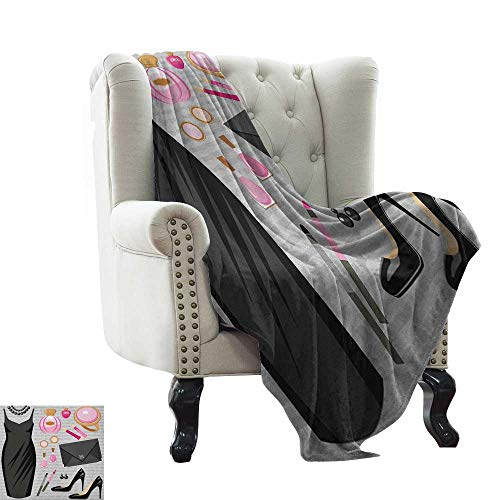 LsWOW Children's Blanket Heels and Dresses,Black Smart Cocktail Dress Perfume Make Up Clutch Bag, Black Pale Pink Pale Brown Warm & Hypoallergenic Washable Couch/Bed Throws 60