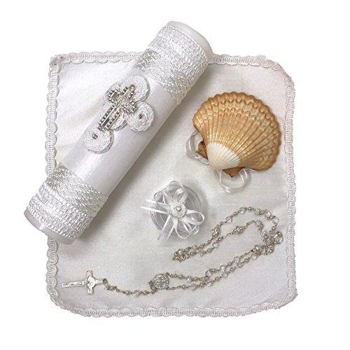 Salve Regina Hand Made Catholic Christening/Baptism Kit - Model 1, White ()
