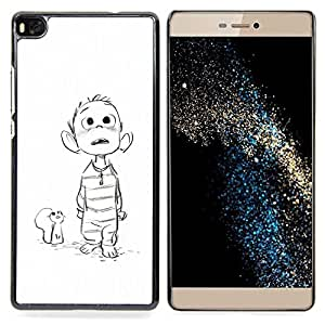 For HUAWEI P8 - Mouse Drawing White Sketch Boy Movie Case Cover Protection Design Ultra Slim Snap on Hard Plastic - God Garden -
