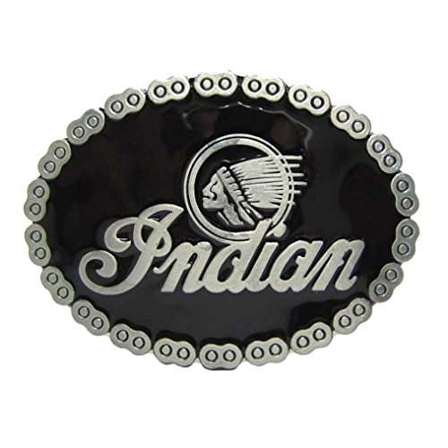 [MASOP Vintage Native American Indian Head Oval Biker Black Belt Buckle Men] (Biker Buckle)