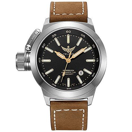 YELANG V1022 T100 Tritium Luminous Military Mens Automatic Mechanical Wrist Watch with Swiss ETA 2824-2 Automatic Movement - Leather Band ()