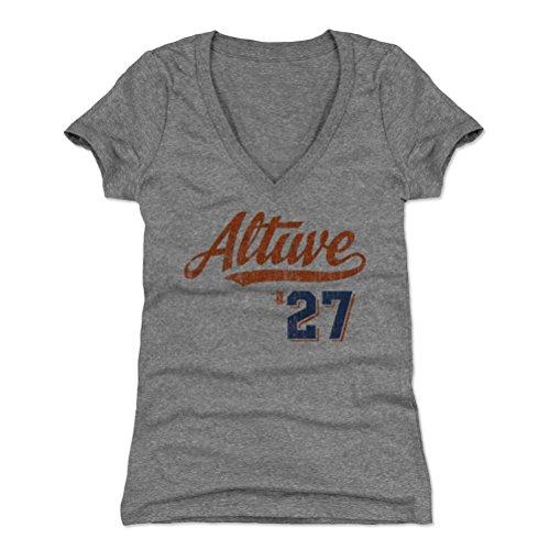 500 LEVEL Jose Altuve Women's V-Neck Shirt Medium Tri Gray - Houston Baseball Women's Apparel - Jose Altuve Script ()