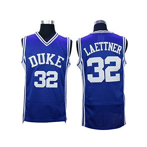 Mens #32 Christian Laettner Duke Blue Devils College Throwback Basketball Jersey Embroidery blue L