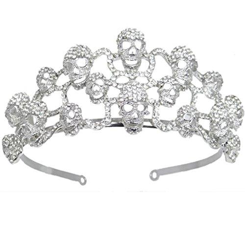 EVER FAITH Halloween Skull Hair Band Tiara Austrian Crystal