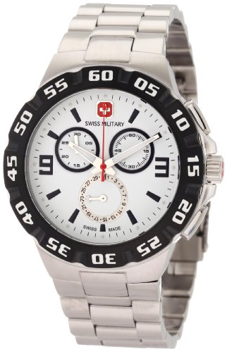 Swiss Army White Bracelet - Swiss Military Calibre Men's 06-5R2-04-001 Racer Chronograph White Dial Steel Bracelet Watch