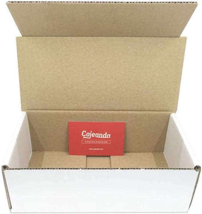 Pack de 50 Cajas de Cartón Automontables en Canal Simple y Color Blanco. Para Mudanzas y Envíos. Tamaño 21 x 10 x 7 cm. VARIOS PACKS. Fabricadas en España. Cajeando