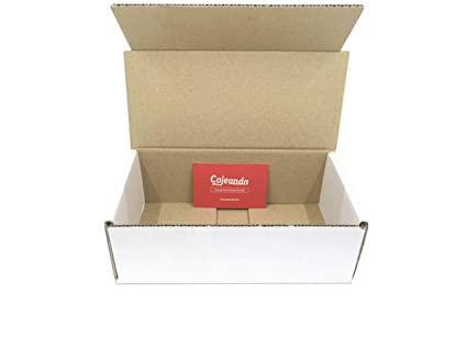 Pack de 50 cajas de cartón automontables en canal simple y color blanco. Útiles para