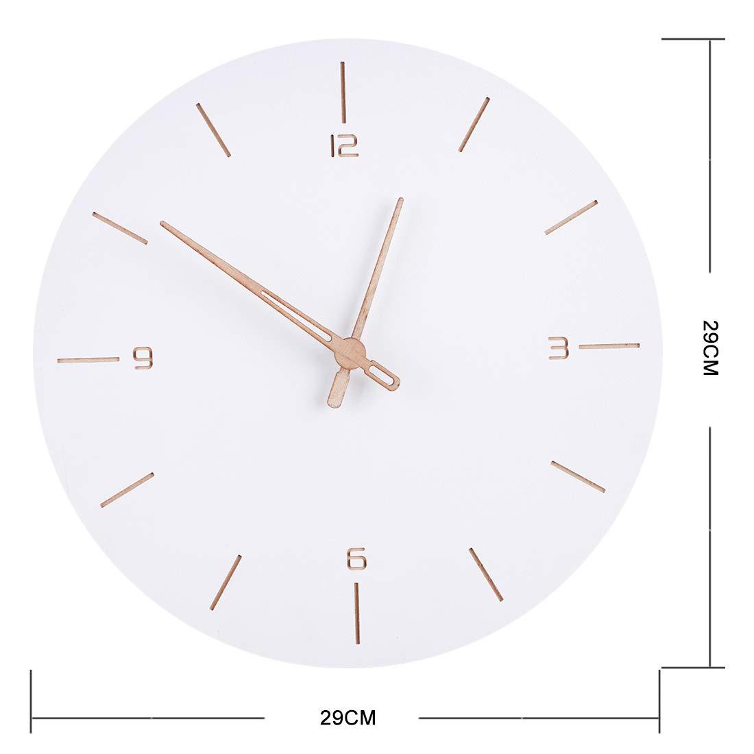 Poxl Blanche Horloge Murale en Bois 29cm Silencieuse Horloge Murale Chiffres Romain Pendule Murale pour Cuisine//Salon//Chambre//Bureau