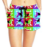 JIW Iaa Corgi Pop Art Womens Popular Elastic Waist Shorts Quick Dry Lightweight Beach Shorts