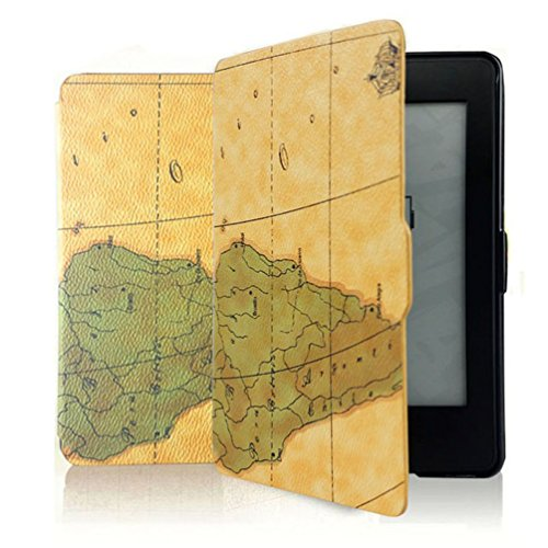 Case for Kindle Paperwhite - The Thinnest and Lightest PU Leather Cover Case with Auto Wake/Sleep for All Amazon Kindle Paperwhite(Fits All 2012,2013,2015 and 2016 Versions),Painting World Map