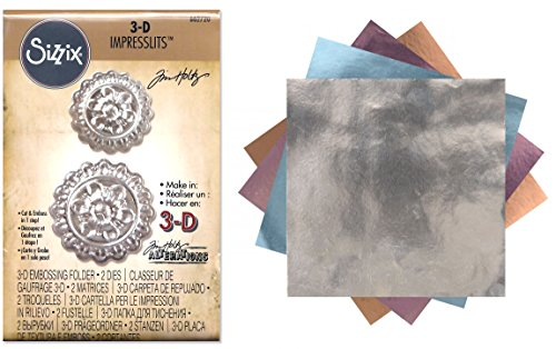 Tim Holtz 3D Impresslits Embossing Folder Medallion and Sizzix Foil Adhesive Sheets Bundle - 2 Items by Tim Holtz Alterations