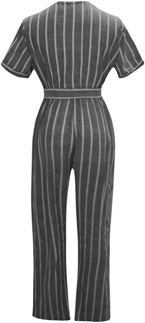 Comaba Womens Striped Sleeveless Casual Waist Tie Jumpsuits Romper