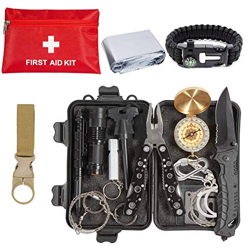 Emergency Survival Kit 43 in 1, Survival Gear Tool Kit SOS Survival Tool Emergency Blanket Tactical Pen Flashlight Pliers Wire Saw for Wilderness Camping Hiking First Aid Survival Kit for Earthquake