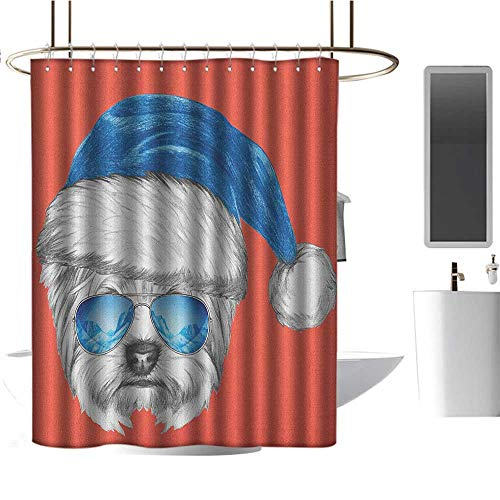 Qenuan Polyester Fabric Shower Curtain Yorkie,Terrier with a Blue Santa Hat and Mirror Aviator Glasses Fun Hand Drawn Animal, Coral White Blue,Metal Rust Proof Grommets Bathroom Curtain 60