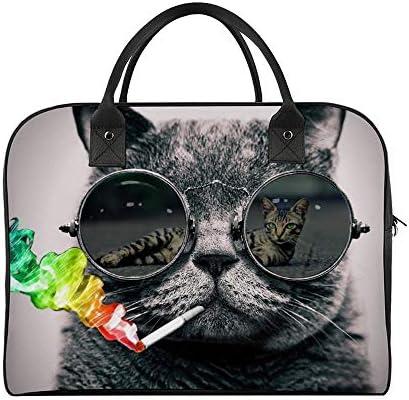 ボストンバッグ キャリーオン 大容量 トラベルバック 旅行 クールなサングラス 猫 ネコ 肩掛け 手提げ ガーメントバッグ フライトバッグ スポーツ ジム ショルダー付き 旅行バッグ ジムバッグ 機内持ち込み
