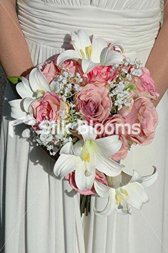 Amazon.com: Large Pink Teardrop Wedding Bouquet Baby Pink Roses ...