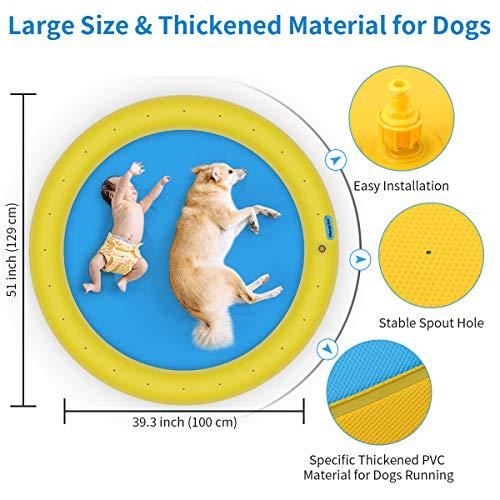 morpilot Thickened Dog Sprinkler Splash Pad for Dogs and Kids, 51