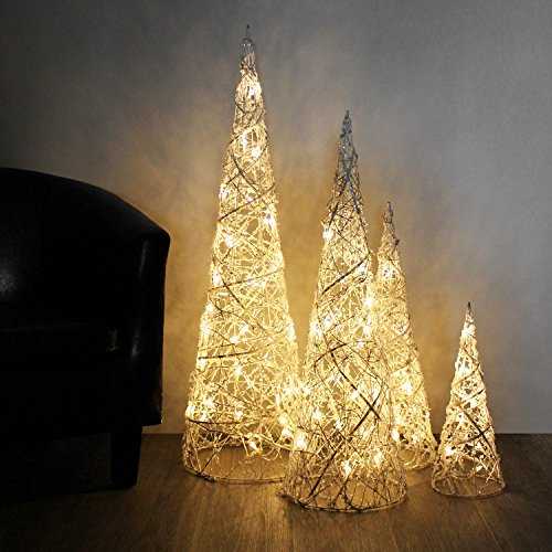Weihnachtsbeleuchtung Kegel.Wohaga 4er Set Weidenkegel Mit Beleuchtung H40 60 80 100cm