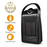 Space Heater, Quiet Personal Mini Electric Ceramic Heater, Over-Heat & Tilt Protection, Adjustable Thermostat and Multifunctional Rotatable 750W/1500W Heater Fan with Carrying Handle for Home/Office