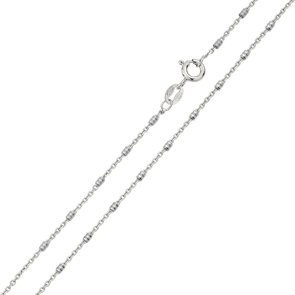 Princess Kylie Rhodium Plated Sterling Silver Diamond Cut Tube Chains 1.2mm