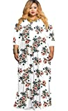 HPLY Women Casual Dresses Long Sleeve Plus Size Printed Round Neck Fold Dress
