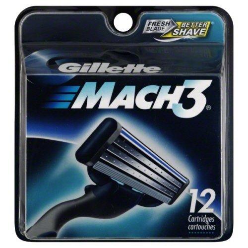 wallectm-gillette-mach-3-mach3-12-cartridges-refill-razor-blades-blade-3-pack