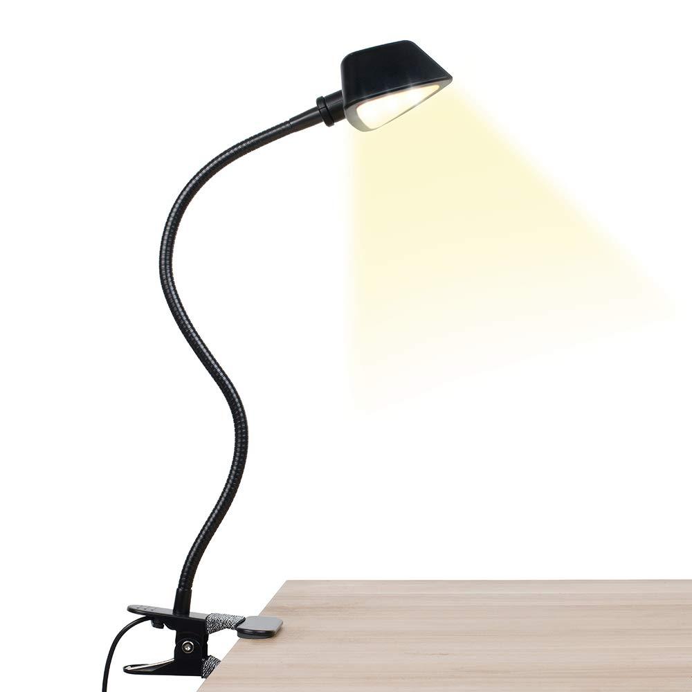 LuminoLite 12 LED, Adjustable Lamp for Reading, 3000-7000K 10 Brightness 3 Colors, Clip on for Desk, Bed Headboard Book Light Black