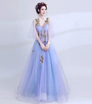 YT-RE Vestido de Novia con Cuello en V Azul Vestido de Novia de la