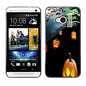 HTC One M7 - Metal de aluminio y de plástico duro Caja del teléfono - Negro - Halloween Cemetary Pumpkins