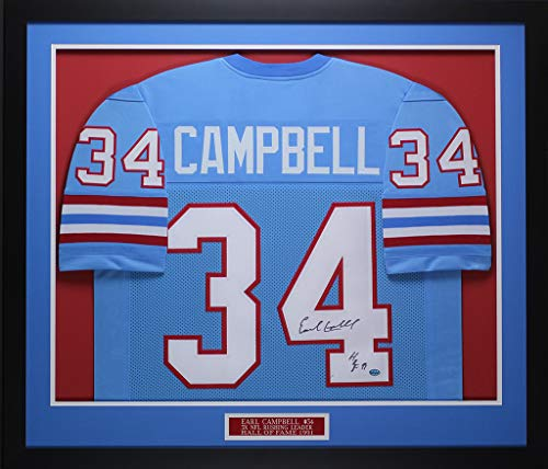 Earl Campbell Autographed Blue Houston Oilers Jersey - Beautifully Matted and Framed - Hand Signed By Earl Campbell and Certified Authentic by GTSM - Includes Certificate of Authenticity