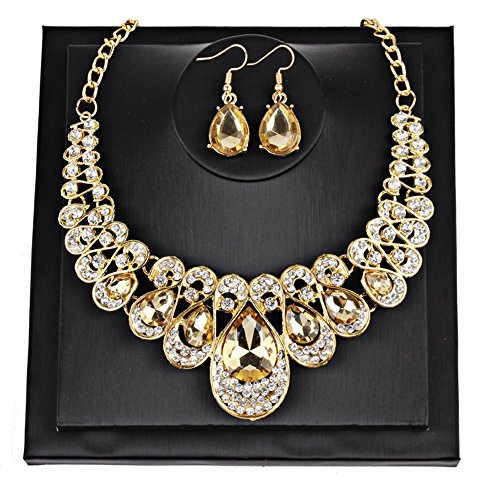 Gbell Girls Women Fashion Crystal Necklace Earrings Jewelry Pendant Gifts Set,Lady Neck Chain Choker Charm,Ideal Wedding,Party,Engagement,45 + 5cm from Gbell