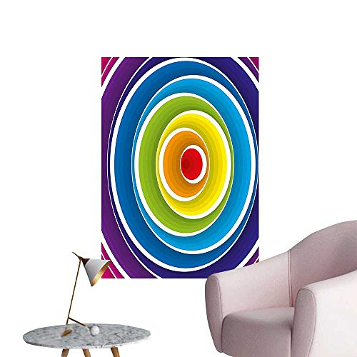 (Wall Stickers for Living Room Circles in Turning Color Tones Rounds Inner Fantasy Kids Effects Artwork Vinyl Wall Stickers Print,24