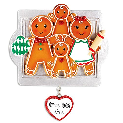 DBK Gifts Made with Love Gingerbread Family Personalized Christmas Ornament (Family of 4 DIY ()