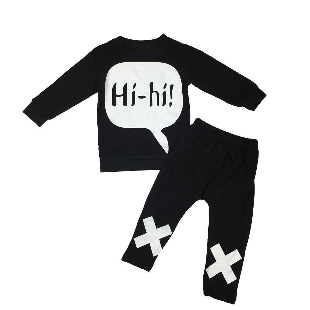 Long Sleeves Letter Print Tops+Pants Outfits Set Memela Baby Clothes